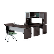 "Mayline Medina Laminate Executive 72"" Desk U-Shaped Package Left Mocha - MNT32-LDC"