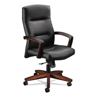 HON 5000 Series Park Avenue Collection Executive High Back Chair, Black Leather/Cognac - HON-5001COSS11