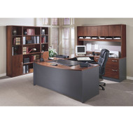 Bush Business Furniture Series C Package Executive U-Shaped Bowfront Desk Hansen Cherry - HCPackageG