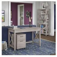 Bush Key West 48W Writing Desk with 2 Drawer Mobile Pedestal and 5 Shelf Bookcase - KWS002WG