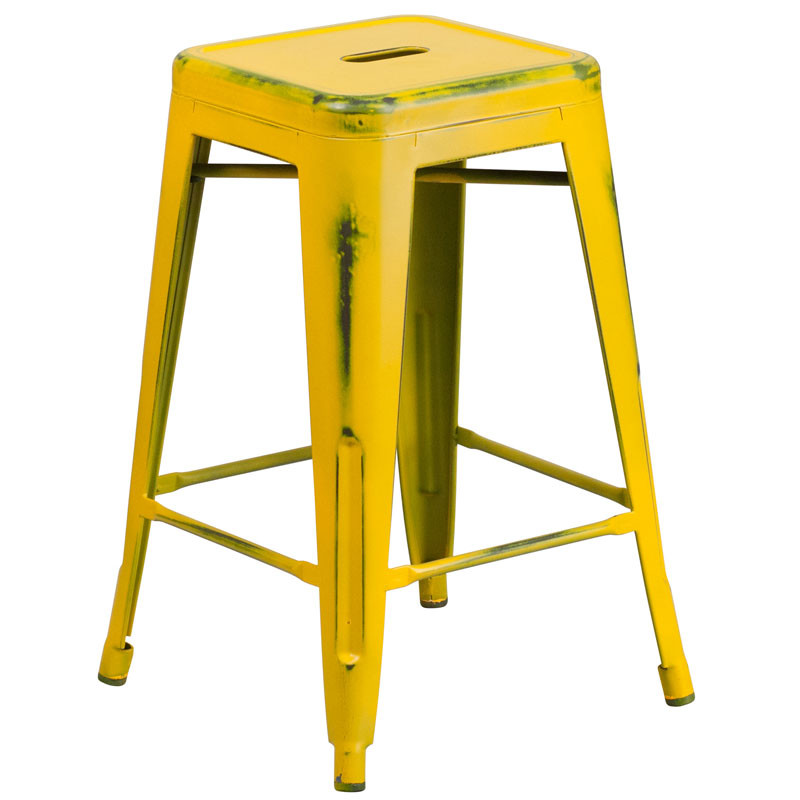 Outstanding Flash Furniture Distressed Yellow Metal Indoor Outdoor Counter Height Stool 24H Et Bt3503 24 Yl Gg Dailytribune Chair Design For Home Dailytribuneorg