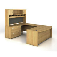 Bush Business Furniture Series C Package U-Shaped Bowfront with Hutch and Lateral File Light Oak Left - SRC005LOL