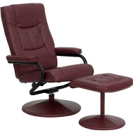Flash Furniture Contemporary Burgundy Leather Recliner and Ottoman - BT-7862-BURG-GG