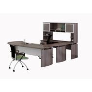 "Mayline Medina Laminate Executive 63"" Desk U-Shaped Package Left Gray Steel - MNT30-LGS"