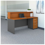 "Bush Business Furniture Series C Reception Desk with 3-Drawer Mobile Pedestal Natural Cherry 72""W x 30""D - SRC096NCSU"