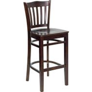 Flash Furniture Wood Vertical Back Barstool with Walnut Finish and Walnut Wood Seat - XU-DGW0008BARVRT-WAL-GG