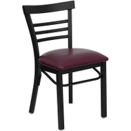Flash Furniture Ladder Back Metal Restaurant Chair with Burgundy Vinyl Seat - XU-DG6Q6B1LAD-BURV-GG