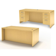 Mayline Aberdeen Executive Desk & Credenza Package Maple - AT1-LMA