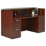 Mayline Mira Reception Desk Station Glass Countertop with Two Pedestals Medium Cherry - MRSBFG-MC