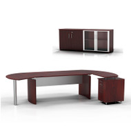 "Mayline Medina Executive 63"" Desk with Return on Right and Low Wall Cabinet, Mahogany  - MNT7-LMH"