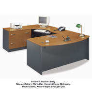 Bush Business Furniture Series C Package Executive U-Shaped Bowfront Desk with Keyboard Tray - SERIESC11