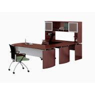 "Mayline Medina Laminate Executive 63"" Desk U-Shaped Package Left Mahogany - MNT33-LMH"