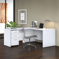 "Bush Business Furniture Studio C Desk L-Shaped Package 60"" White - STC008WH"