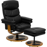 Flash Furniture Contemporary Black Leather Recliner and Ottoman - BT-7828-PILLOW-GG