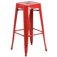 """Flash Furniture Red Metal Indoor-Outdoor Barstool 30""""H - CH-31320-30-RED-GG"""