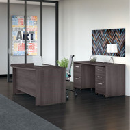 "Bush Business Furniture Studio C Bow Front Desk, Credenza and File Storage 72"" Storm Gray - STC009SG"