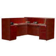 Mayline Luminary Reception Desk L-Shaped Cherry - RSRBB