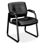 Basyx Sled Base Leather Guest Chair, Black - VL693SB11