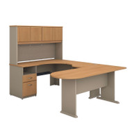 Bush Business Furniture Series A U-Shaped Desk with Hutch, Peninsula and Storage in Light Oak - SRA009LO
