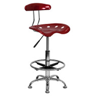 Flash Furniture Vibrant Wine Red and Chrome Drafting Stool / Bar Stool with Tractor Seat - LF-215-WINERED-GG