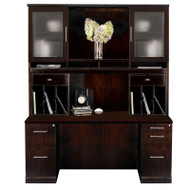 Mayline Sorrento Double Pedestal Credenza and Hutch Package Espresso - ST24