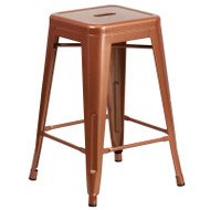 "Flash Furniture Copper Metal Indoor-Outdoor Counter Height Stool 24""H - ET-BT3503-24-POC-GG"