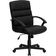 Flash Furniture Mid-Back Black Leather Executive Office Chair - GO-1004-BK-LEA-GG