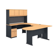 Bush Business Furniture Series A U-Shaped Desk with Hutch, Peninsula and Storage in Beech -SRA009BE
