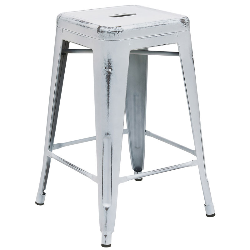 Fabulous Flash Furniture Distressed White Metal Indoor Outdoor Counter Height Stool 24H Et Bt3503 24 Wh Gg Gmtry Best Dining Table And Chair Ideas Images Gmtryco