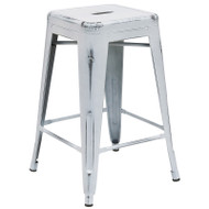 "Flash Furniture Distressed White Metal Indoor-Outdoor Counter Height Stool 24""H - ET-BT3503-24-WH-GG"