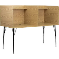Flash Furniture Double Wide Study Carrel with Adjustable Legs and Top Shelf in Oak Finish - MT-M6222-OAK-DBL-GG
