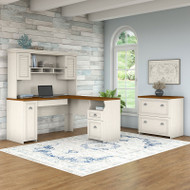 Bush Furniture Fairview L Shaped Desk w Hutch and Lateral File Cabinet Antique White - FAI2