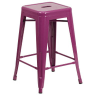 "Flash Furniture Purple Metal Indoor-Outdoor Counter Height Stool 24""H - ET-BT3503-24-PUR-GG"