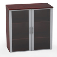 Mayline Medina Laminate Storage Cabinet Glass Hutch Mahogany - MGDC-LMH