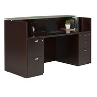 Mayline Mira Reception Desk Station Glass Countertop with Two Pedestals Espresso - MRSBFG