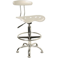 Flash Furniture Vibrant Silver and Chrome Drafting Stool / Bar Stool with Tractor Seat - LF-215-SILVER-GG
