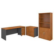 "Bush Business Furniture Series C Package Desk with File Storage and Bookcase 72""  Natural Cherry - SRC097NCSU"