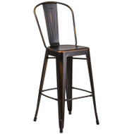 "Flash Furniture Distressed Copper Metal Indoor-Outdoor Bar Height Chair 30""H - ET-3534-30-COP-GG"