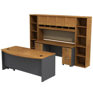 Bush Business Furniture Series C Package Executive Bowfront Desk w Credenza, Hutch and Bookcases Natural Cherry - SRC0010NCSU