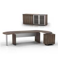 """Mayline Medina Executive 63"""" Desk with Return on Right and Low Wall Cabinet, Textured Brown Sugar  - MNT7-TBS"""