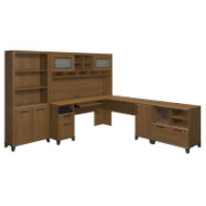 Bush Achieve L-Shaped Desk with Hutch, Bookcase and Lateral File Package Warm Oak Finish - ACH007WO