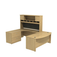 "Bush Business Furniture Series C Package U-Shaped Bowfront Desk with Hutch and Storage in Light Oak 72"" Left - SRC005LOLSU"