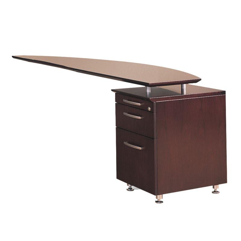 Mayline Napoli Veneer Executive Right Curved Desk Return with Pedestal 63  Mahogany - NRTPR