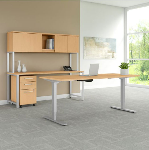 Swell Bush Business Furniture 400 Series Height Adjustable Standing Desk 72 Credenza And Storage Natural Maple 400S193Ac Download Free Architecture Designs Scobabritishbridgeorg