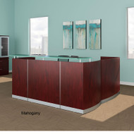 Mayline Medina Reception Station L-Shaped (No Pedestal Files) Mahogany - MNRS-RET-LMH