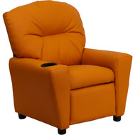Flash Furniture Contemporary Kid's Recliner with Cup Holder Orange Vinyl - BT-7950-KID-ORANGE-GG