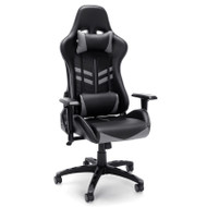 OFM Essentials High-Back Black Leather Racing Style Gaming Chair with Gray Accents - ESS-6065-GRY
