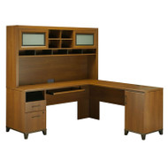 Bush Achieve L-Shaped Computer Desk with Hutch Warm Oak Finish - ACH001WO