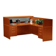 Mayline Aberdeen Reception Desk L-Shaped with two Pedestal File Drawers Cherry Finish - ABEPackage4-LCR