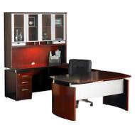 "Mayline Napoli Veneer Series Suite 33 - Executive Workstation 63"" U-Shaped Left Sierra Cherry - NT33-CRY"